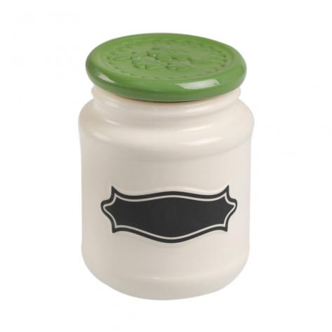 Small ceramic jar with green lid