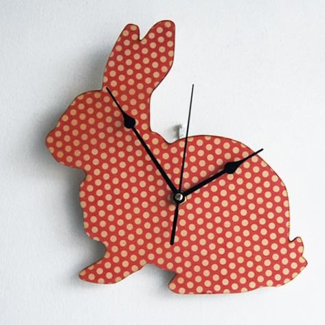 Polka dot bunny wall clock