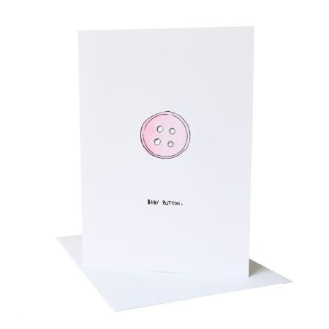 Baby button pink greeting card