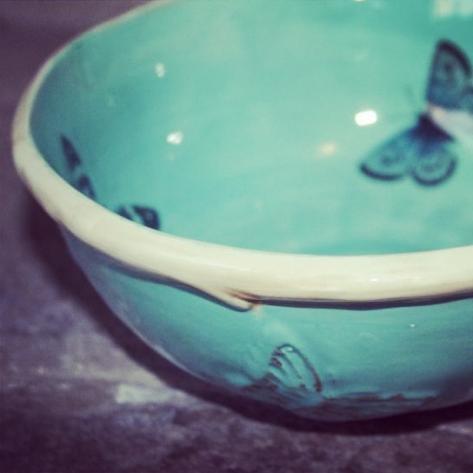 Turquoise botanical papillon bowl